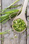 picture of chives  - Wooden Spoon with fresh Chive  - JPG