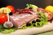 stock photo of shoulder-blade  - Still Life with Fresh Meat and Vegetables in Retro Styling - JPG