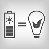 picture of solar battery  - Grey solar battery and lamp with  leaves as idea of eco friendly source of energy - JPG