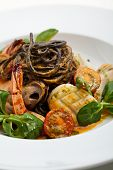 foto of tiger prawn  - Seafood Spaghetti with Tiger Prawns - JPG
