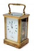 image of pendulum clock  - Vintage bronze clock on a white background - JPG