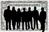 pic of por  - Business team silhouettes  against hundred dollar bill  background - JPG
