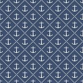 image of navy anchor  - Vector seamless navy anchor blue pattern design - JPG