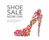 stock photo of stilettos  - Fashion poster of women multi color shoes on white background - JPG