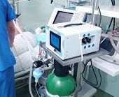 foto of icu  - Modern equipment in the ICU and work with the patient - JPG