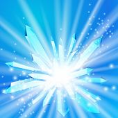 pic of big-bang  - Vector illustration of a crystal with rays coming from the inside - JPG