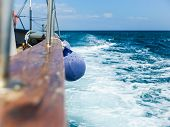 pic of friction  - Fender on board the ship is sailing the high seas