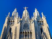 stock photo of sacred heart jesus  - Expiatory Church of the Sacred Heart of Jesus in Barcelona Spain - JPG