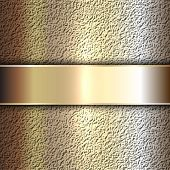 picture of precious stone  - Vector precious metal gold plate with corners on stone background - JPG