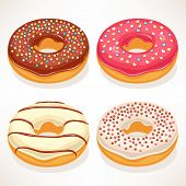 foto of donut  - set of four cute donuts with colorful glaze - JPG