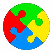 foto of jigsaw  - Jigsaw puzzle in the form of a colored circle - JPG