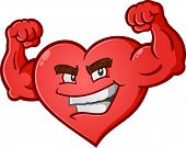 stock photo of muscle builder  - A sexy red heart cartoon character posing like a body builder and flexing his bulging muscles - JPG