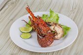 picture of lobster  - Spiny lobster grilled with lime and spices - JPG