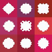 foto of marsala  - Set of Elegant Vector White Badges or Empty Frames on Colorful Marsala Background - JPG