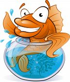 picture of waving  - Great illustration of a Cute Cartoon Goldfish waving from the comfort of his Goldfish Bowl - JPG
