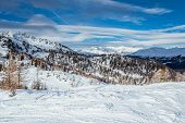 stock photo of italian alps  - Ski Slope near Madonna di Campiglio Ski Resort, Italian Alps