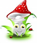 stock photo of toadstools  - Cute toadstool in grass with ladybugs and drop of water - JPG
