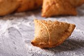 stock photo of samosa  - Indian samosa pastry close - JPG