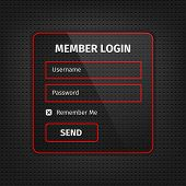 Постер, плакат: Red Member Login Ui On Black Background