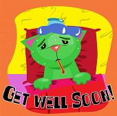 foto of get well soon  - Get well soon card with cute sick cat - JPG