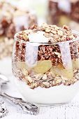 picture of quinoa  - Three bowls of red quinoa with apples yogurt and granola with shallow depth of field - JPG