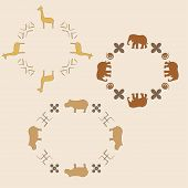stock photo of hippopotamus  - Circle ornament with elephant - JPG