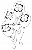 stock photo of four leaf clover  - Balloons With 4 Leaves Clover for Saint Patrick - JPG