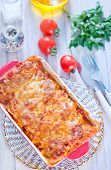picture of lasagna  - lasagna in bowl and on a table - JPG