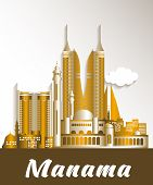 stock photo of bahrain  - City of Manama Bahrain Famous Buildings - JPG
