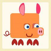 stock photo of baby pig  - Good pig baby stylized pictogram symbol illustration - JPG