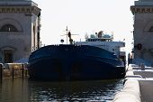foto of barge  - Barge enters the lock of the Volga-Don canal ** Note: Soft Focus at 100%, best at smaller sizes - JPG