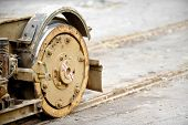 image of tram  - Industrial shot with out of use rusty tram wheels - JPG