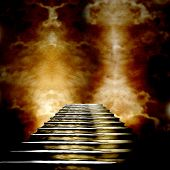 image of entryway  - Staircase leading to heaven or hell - JPG