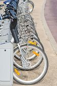 picture of zero  - Bicycle rental station in a city zero emission transport  - JPG