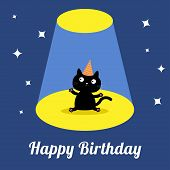 stock photo of birthday hat  - Projector light in the circus show Cute cartoon black cat with hat - JPG
