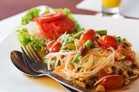 stock photo of papaya fruit  - Som Tum Thai papaya salad - JPG