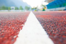 picture of track field  - Running track (Running track rubber with line ) ** Note: Shallow depth of field - JPG