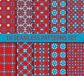 image of ten  - Set of vintage geometric seamless patterns - JPG