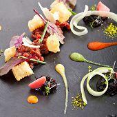 picture of tartar  - Tuna Tartare with Various Dip and Crispy - JPG