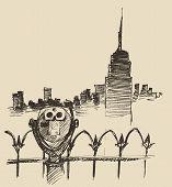 picture of binoculars  - Viewpoint with binoculars binocular viewer and city skyline hand drawn vector illustration - JPG