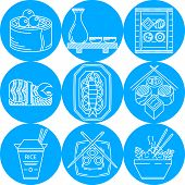 picture of chinese menu  - Set of round blue vector icons with white line elements of asian food menu on white background - JPG