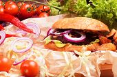 picture of beef-burger  - Delicious homemade burger with fresh vegetables and beef - JPG