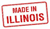 stock photo of illinois  - made in Illinois red square isolated stamp - JPG