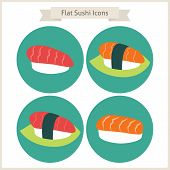 picture of sushi  - Flat Food Sushi Circle Icons Set - JPG