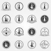 stock photo of hookah  - Hookah club or lounge badge or logo set  - JPG
