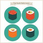 picture of sushi  - Flat Food Sushi Rolls Circle Icons Set - JPG