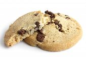 stock photo of shortbread  - Isolated round chocolate chip shortbread biscuits - JPG