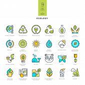 stock photo of afforestation  - Set of line modern color icons for ecology - JPG