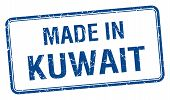 stock photo of kuwait  - made in Kuwait blue square isolated stamp - JPG
