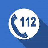 foto of accident emergency  - emergency call flat icon 112 call sign